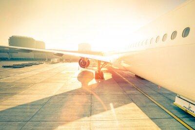 Sticker Générique, avion, terminal, portail, Prêt, décollage - moderne, international, aéroport, Coucher soleil - concept, émotion, voyage, autour ...