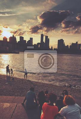 Gens, regarder, Coucher soleil, Brooklyn, plage, Parc