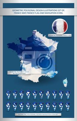 Geometric polygonal design illustrations set of France