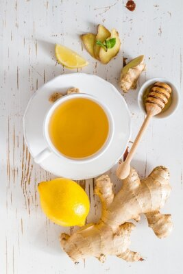 Sticker Gingembre, thé, ingrédients, blanc, bois, fond