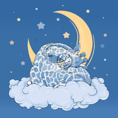 Giraffe dormir sur un nuage.