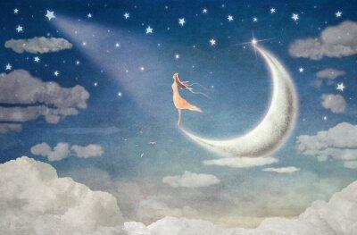 Sticker Girl, lune, admirer, nuit, ciel