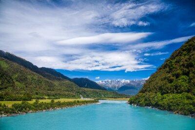 Sticker Glaciaire, bleu, laque, eau, Whataroa, rivière, nouveau, zélande