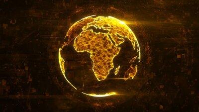 Sticker Globe abstrait numérique constitué de lignes lumineuses en plexus. Structure de la technologie commerciale des lignes orange, des points et des particules. Continent africain Rendu 3D