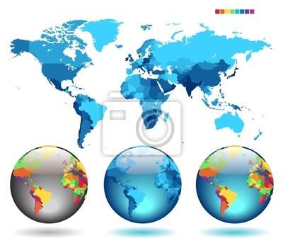 Globes sur fond bleu carte détaillée