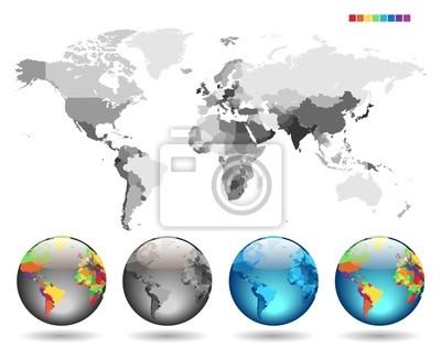 Globes sur le gris carte détaillée