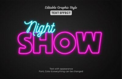 Sticker Glowing night Show neon light, Editable Graphic Style text effect