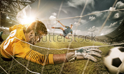 Sticker Goalkeeper in gates jumping to catching ball