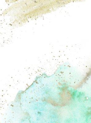 Sticker Gold, blue and turquoise watercolor texture design. Brush stroke frame / border. Shimmering modern art. Illustration.