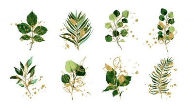 Sticker Gold green tropical leaves wedding bouquet with golden splatters isolated on white background. Floral foliage vector illustration arrangement in watercolor style. Botanical art design