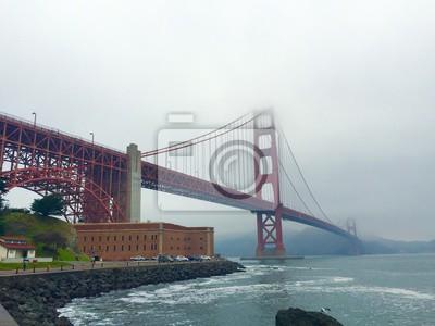 Golden gate, pont, brumeux, matin