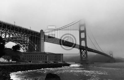 Golden gate, pont, noir, blanc, Style