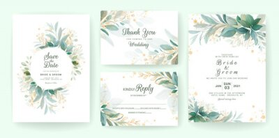 Sticker Golden greenery wedding invitation template set with leaves, glitter, frame, and border. Floral decoration vector for save the date, greeting, thank you, rsvp, etc