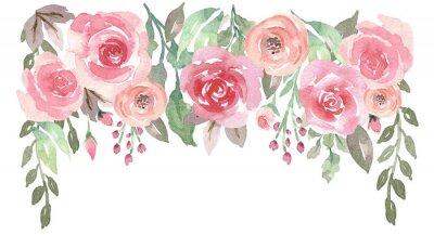 Sticker Goutte d'eau aquarelle en vrac avec des roses