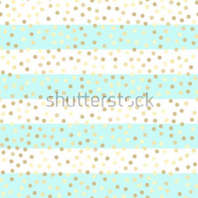 Sticker Gouttes d'or scintillantes sur des rayures turquoises et blanches. Modèle vectorielle continue sur fond d'or et de menthe rayé. Fond de vacances brillant. Motif de paillettes d'or. Fond de