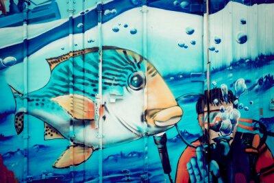 Sticker Graffiti aquarium plongeur