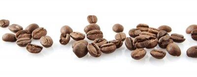 Sticker Grains de café éparpillés dans la ligne sur blanc