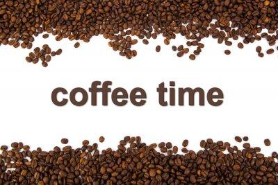 Sticker grains de café torréfiés avec le titre