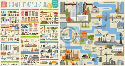 Sticker Grand créateur de plan de ville. Carte modèle sans couture et maisons, infrastructure, industriel, transport, village et campagne. Faites de votre ville parfaite