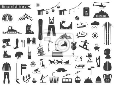 Sticker Grand ensemble d'icônes pour les sports de ski et d'hiver.