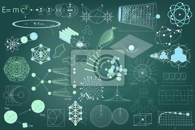 Grande collection d'éléments, de symboles et de schémas de physique