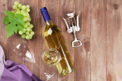 Sticker Grappe de raisin, vin blanc et tire-bouchon