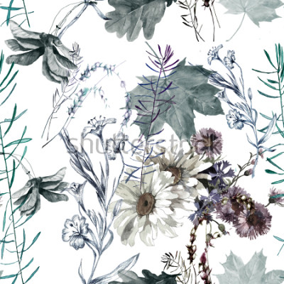 Sticker grass flowers and leaves watercolor seamless pattern for fabrics, paper, wallpaper