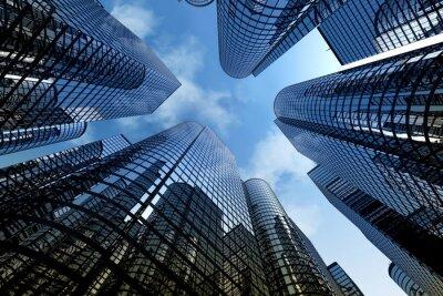 Sticker Gratte-ciel de réflexion, immeubles de bureaux d'affaires.