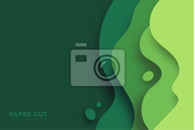 Sticker Green abstract paper carve background.Paper art style of nature concept design.Vector illustration. eps 10