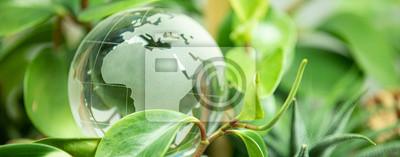 Sticker green earth concept glass sphere