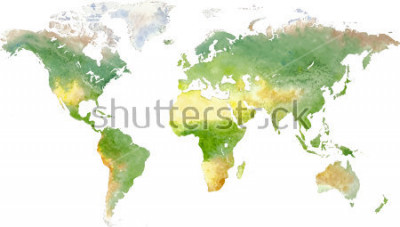 Sticker Green vector world map in watercolor style