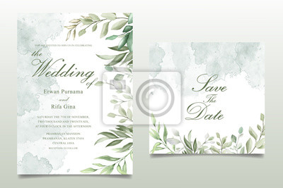 Sticker Greenery Watercolor Floral wedding invitation template card design