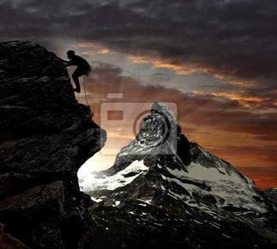 grimpeur dans les Alpes suisses