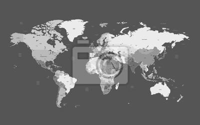 Gris carte détaillée du monde