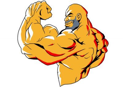 Sticker gros biceps, illustration, couleur, logo, isolés sur un fond blanc