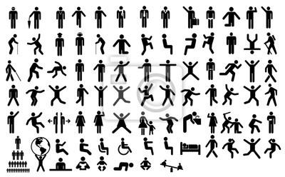 Sticker Gros pictogramme d'action de peuple. Illustration noire