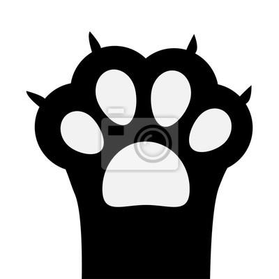 Gros Pied De Patte De Chat Noir Avec Ongle Mignon Personnage
