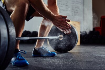 Sticker Gros plan, weightlifter, claquer, mains, avant, barre, séance d'entraînement