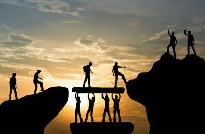 Sticker Group of people on peak mountain climbing helping team work , travel trekking success business concept