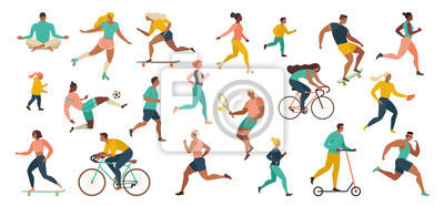 Sticker Group of people performing sports activities at park doing yoga and gymnastics exercises, jogging, riding bicycles, playing ball game and tennis.