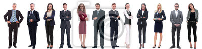 Sticker group of successful business people isolated on white