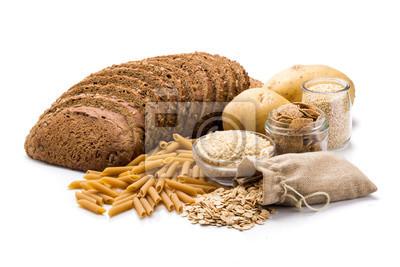 Sticker Groupe d'aliments entiers, glucides complexes isolés sur fond blanc