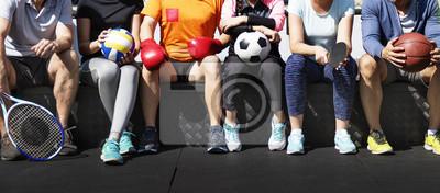 Sticker Groupe d'athlètes divers assis ensemble