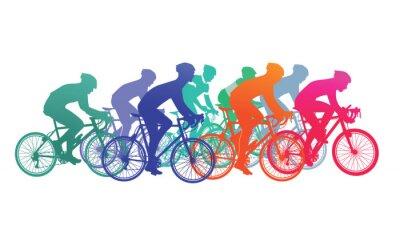 Sticker Groupe de cyclistes dans la course de vélo