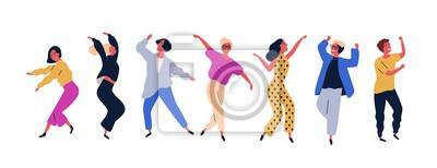 Sticker Groupe de jeunes gens dansants heureux ou danseurs masculins et féminins isolés sur fond blanc. Sourire de jeunes hommes et femmes appréciant la soirée dansante. Illustration vectorielle coloré en sty