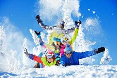 Sticker Groupe, heureux, amis, station de ski