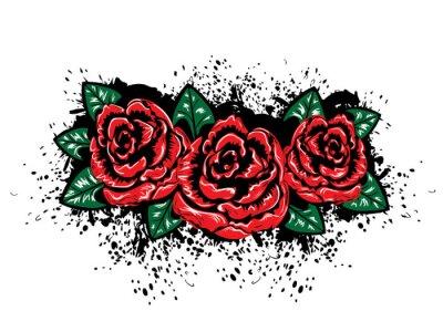 Sticker Grunge Roses avec des éclaboussures