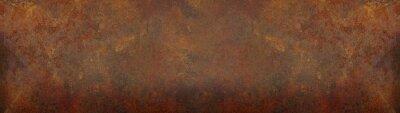 Sticker Grunge rusty orange brown metal corten steel stone background texture banner panorama