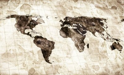 Sticker grunge stained map of the world