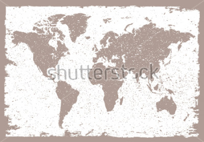 Sticker Grunge world map.Vintage map of the world.